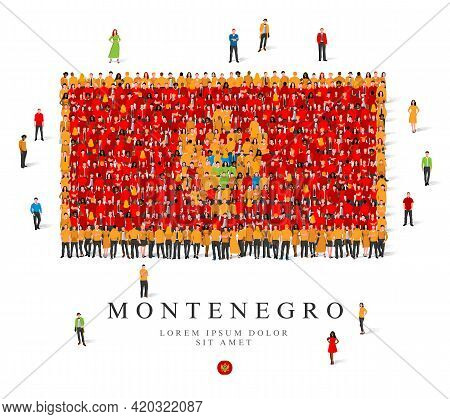 A Large Group Of People Are Standing In Yellow And Red Robes, Symbolizing The Flag Of Montenegro. Ve