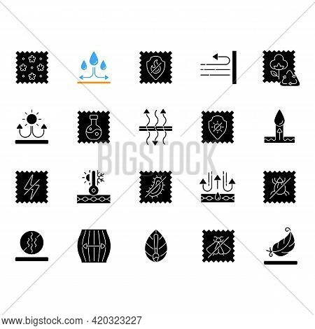 Different Types Of Fabric Feature Black Glyph Icons Set On White Space. Fiber Characteristics. Texti