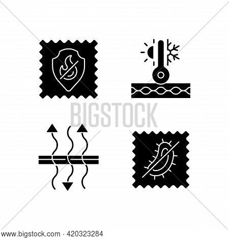 Fabric Characteristics Black Glyph Icons Set On White Space. Fireproof And Breathable Textile. Therm