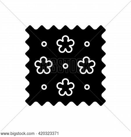 Abstract Print Pattern On Fabric Black Glyph Icon. Simple Fiber Label. Cute Tracery Material. Specia