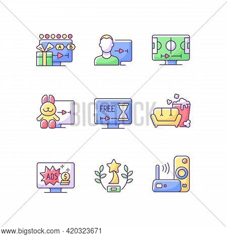 Broadcast Services Rgb Color Icons Set. Viewing Episodes. User Account. Sports Streaming. Cartoons.