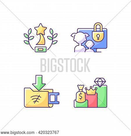 Broadcast Services Rgb Color Icons Set. Award-winning Content. Parental Control. Offline Downloads.