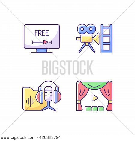 Streaming Services Rgb Color Icons Set. Free Trial Option. Retro Channel. Podcasts Library. Premiere