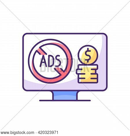 Ad-free Subscription Plan Rgb Color Icon. Additional Monthly Charge. Enjoying Streaming Movies Witho