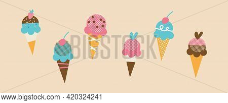 Set Of Tasty Ice Creams. Sweet Summer Delicacy Sundaes, Gelatos With Different Tasties, Collection I