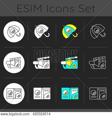 Company Branding Materials Dark Theme Icons Set. Advertising Company Or Business With Use Of Branded