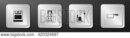 Set Oven, Grater, Water Tap And Saucepan Icon. Silver Square Button. Vector
