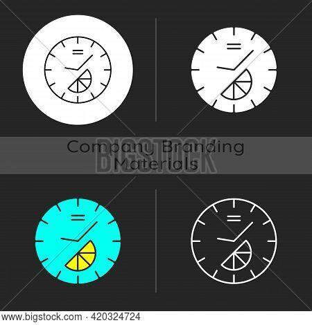 Branded Clock Dark Theme Icon. Modern Designed House Decor. Make Home Look Stylish. Designing Interi