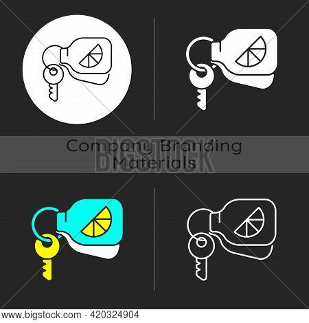Branded Keyring Dark Theme Icon. Fashionable Accessories For Keys Of House Or Cars. Designers Creati