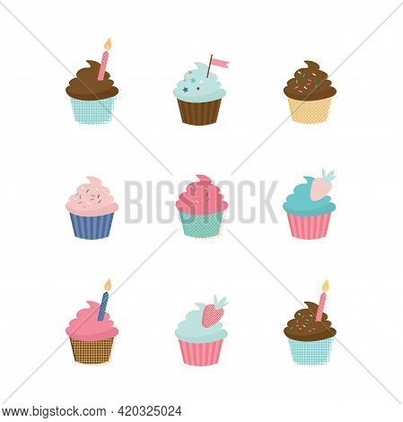 Set Of Cute Vector Cupcakes And Muffins. Delicious Cupcakes And Vector Sprinkles Muffin Set