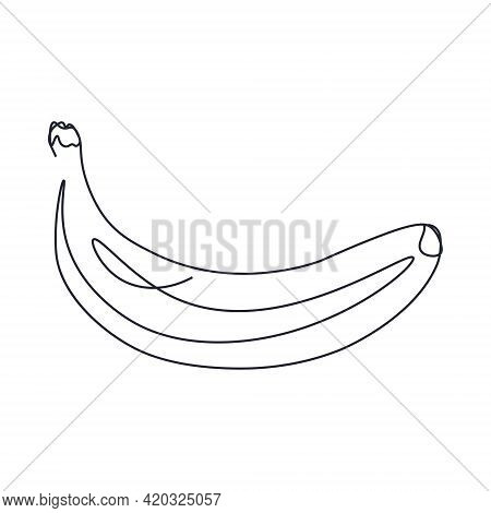 Continuous Single Line Drawing Of A Banana. Drawing A Whole Fruit With A Single Line. Abstract Style