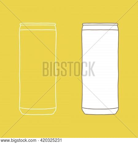 Drink Can Mockup. Hand Drawn Vector Illustration With Aluminum Can. Used For Poster, Banner, T-shirt