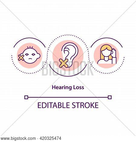 Hearing Loss Concept Icon. Inability To Hear Idea Thin Line Illustration. Exposure To Loud Noise. Pr