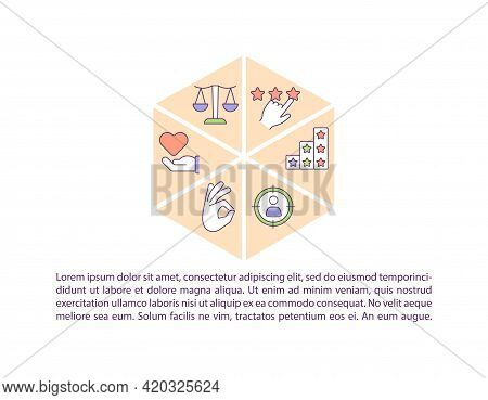 Moral Values Concept Line Icons With Text. Ppt Page Vector Template With Copy Space. Brochure, Magaz