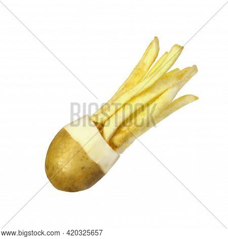 Isolated Potatoes With French Fries On A White Background Flies In The Form Of A Comet, A Young Pota