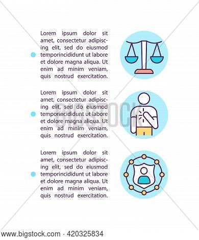 Corporate Values Concept Line Icons With Text. Ppt Page Vector Template With Copy Space. Brochure, M