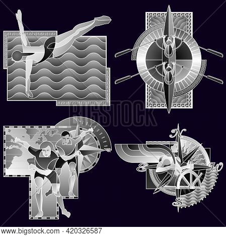 Set Of Four Sports Poster, Banner Or Flyer