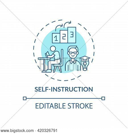 Self Instruction Blue Concept Icon. Personal Management For Work Productivity. Skill Improvement. Se