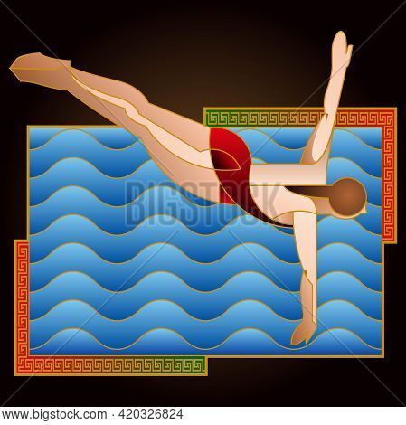 Sports Posters, Banners Or Flyers Of Swimmers
