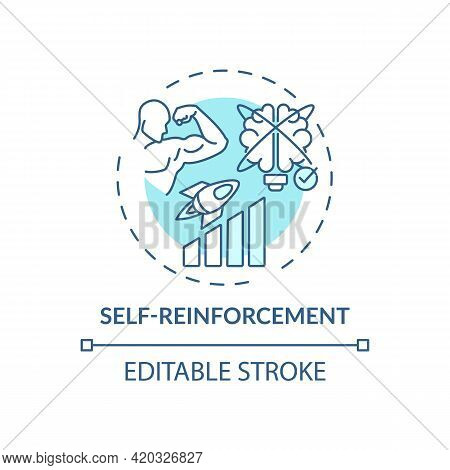 Self Reinforcement Blue Concept Icon. Personal Motivation For Work Efficiency. Skill Improvement. Se