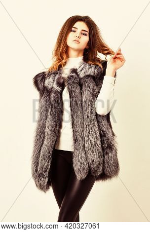 Fashion Trend Concept. Winter Fashionable Wardrobe For Female. Boutiques Selling Fur. Woman Makeup F