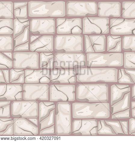Stone Floor Cartoon Vector Texture, Cracked Brick Wall Seamless Pattern, Old Pavement Mosaic Backgro