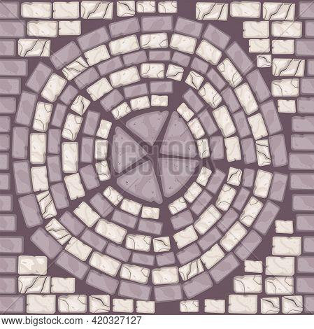 Ancient Stone Floor Texture, Vector Brick Seamless Tile Pattern, Abstract Pavement Background. Endle