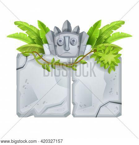 Stone Sign Board, Vector Cartoon Rock Maya Totem Face, Banana Leaves, Vine, Big Gray Cracked Boulder