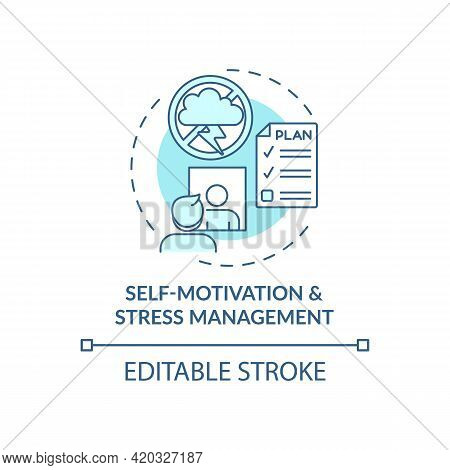 Self Motivation And Stress Management Blue Concept Icon. Personal Growth And Skill Improvement. Self