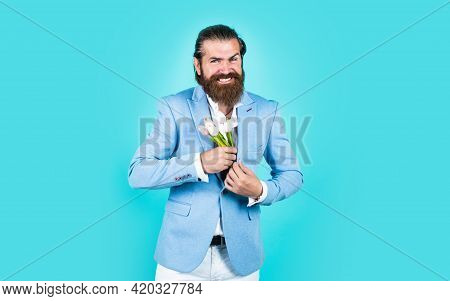 Last Details. Concept Of Flower Shop. Man With Beard And Stylish Hair. Holiday And Celebration. Flor