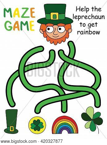 Help The Leprechaun To Get Rainbow - Maze Game Stock Vector Illustration. Funny Educational Puzzle W