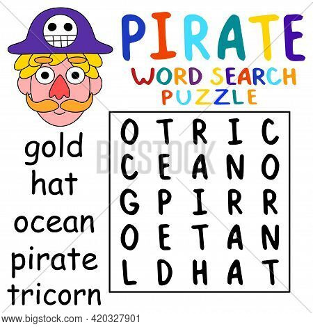 Cartoon Colorful Pirate Word Search Puzzle Stock Vector Illustration. Educational Word Game For Chil