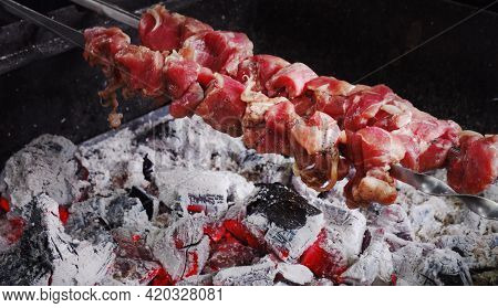 Meshkak - Oman Popular Street Snack Consisting Of Beef, Chicken, Or Mutton That Is Marinated, Skewer