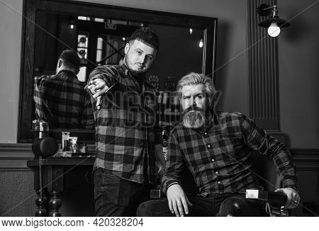 Barber And Hair Stylist Dedicate To Making You Better Looking Person. Barber With Scissors And Clien