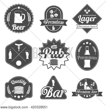 Alcohol Beer Party Labels Badges Collection Of Bottle Glass Mug Crayfish And Lobster Isolated Hand D