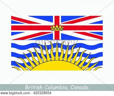 British Columbia Canada Flag. Canadian Province Banner. Flag Of Bc, Ca. Eps Vector Illustration
