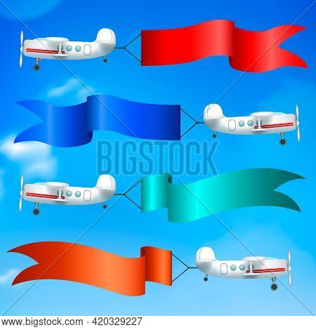 Aerial Advertising Airplanes Parade Flying Giant Colorful Flags Banners Ads Behind Against Blue Sky