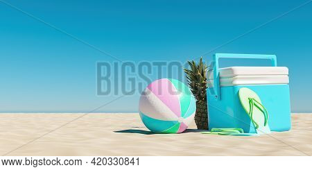 Beach Fridge With Ball And Pineapple On The Beach Sand And Clear Sky. Summer Background. 3d Render