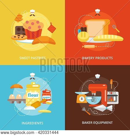 Bakery Flat Icons Set With Sweet Pastries Products Ingredients Baker Equipment Isolated Vector Illus