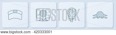 Set Line Sun Visor Cap, Golf Ball On Tee, Label And In Water. White Square Button. Vector