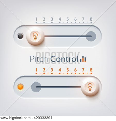 User Interface Design Concept With Horizontal Pitch Control On Light Background Isolated Vector Illu