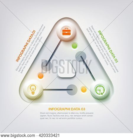 Abstract Web Infographic Concept With Triangle Panel Switch Colorful Sliders Three Options And Busin