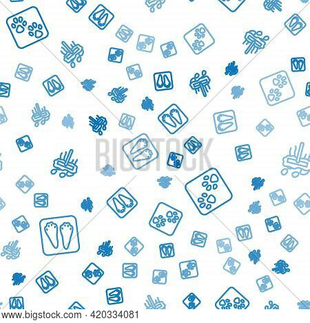 Set Line Rabbit And Hare Paw Footprint, Paw And Mop On Seamless Pattern. Vector