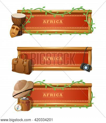 African Travel Horizontal Banner Set With Expedition And Adventure Elements Isolated Vector Illustra