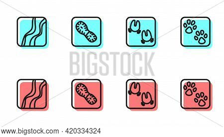 Set Line Wild Boar Paw Footprint, Snake, Human Footprints Shoes And Paw Icon. Vector