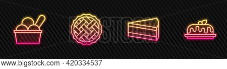 Set Line Piece Of Cake, Ice Cream In Bowl, Homemade Pie And Cake. Glowing Neon Icon. Vector
