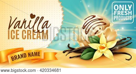Vanilla Ice Cream Naturally Flavored Product Advertising Poster With Plant Flower Aromatic Seed Pods