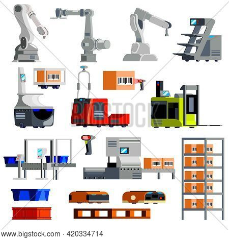 Automated Warehouse Equipment Mechanical Arms Robots Loaders Sorting Conveyor Set Of Flat Icons Isol
