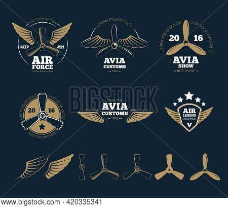 Aircraft Design Elements And Logos. Airplane Propeller, Emblem Or Insignia, Stamp Flight, Vector Ill
