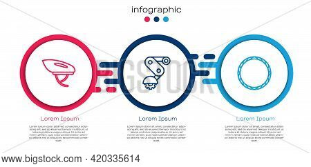 Set Line Bicycle Helmet, Derailleur Bicycle Rear And Wheel. Business Infographic Template. Vector